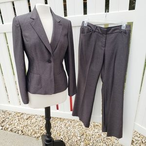Anne Klein Blazer Pants Suit Set Metallic Black 10